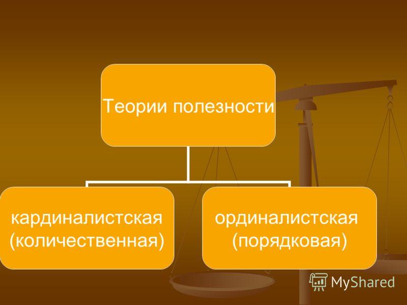 Теории полезности кардиналистская (количественная) ординалистская (порядковая)