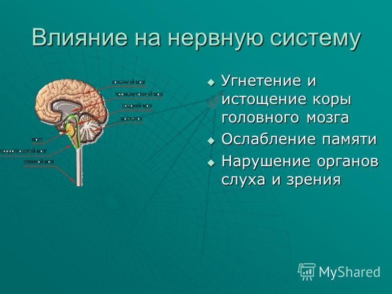 Влияние на нервную систему Угнетение и истощение коры головного мозга Угнетение и истощение коры головного мозга Ослабление памяти Ослабление памяти Нарушение органов слуха и зрения Нарушение органов слуха и зрения
