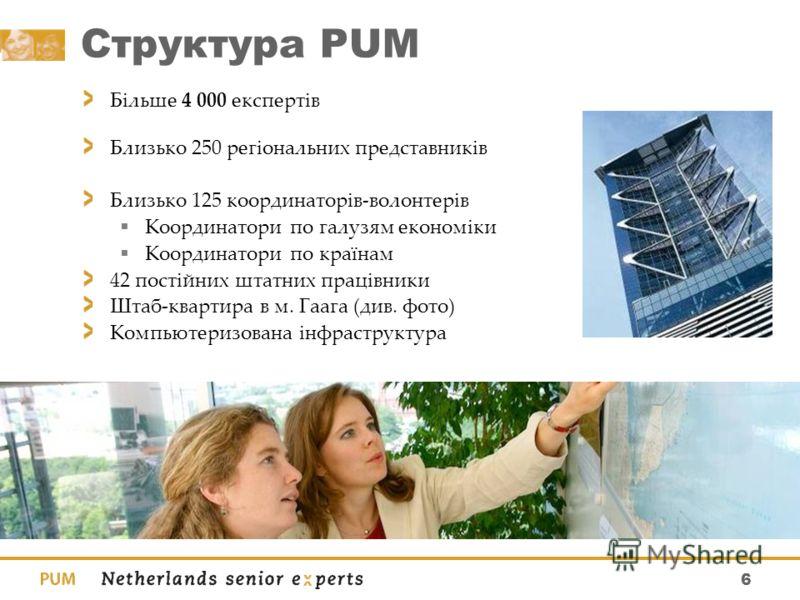 6 Структура PUM Більше 4 000 експертів Близько 250 регіональних представників Близько 125 координаторів-волонтерів Координатори по галузям економіки Координатори по країнам 42 постійних штатних працівники Штаб-квартира в м. Гаага (див. фото) Компьюте