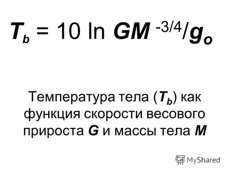 T b = 10 ln GM -3/4 /g o Температура тела (T b ) как функция скорости весового прироста G и массы тела M