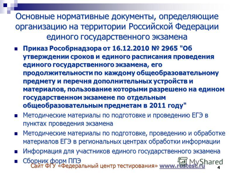 4 Основные нормативные документы, определяющие организацию на территории Российской Федерации единого государственного экзамена Приказ Рособрнадзора от 16.12.2010 2965