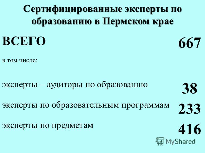Сертифицированные эксперты по образованию в Пермском крае ВСЕГО 667 в том числе: эксперты – аудиторы по образованию 38 эксперты по образовательным программам 233 эксперты по предметам 416