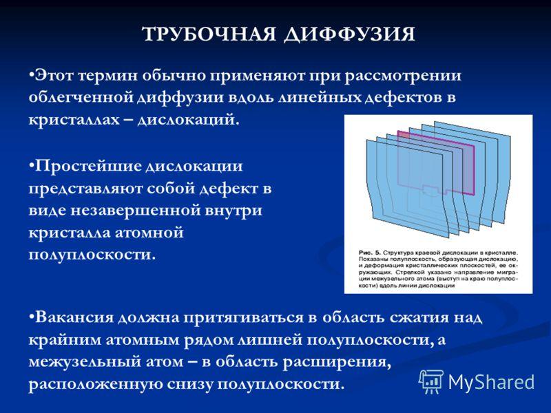Вакансия должна притягиваться в область сжатия над крайним атомным рядом лишней полуплоскости, а межузельный атом – в область расширения, расположенную снизу полуплоскости. Простейшие дислокации представляют собой дефект в виде незавершенной внутри к