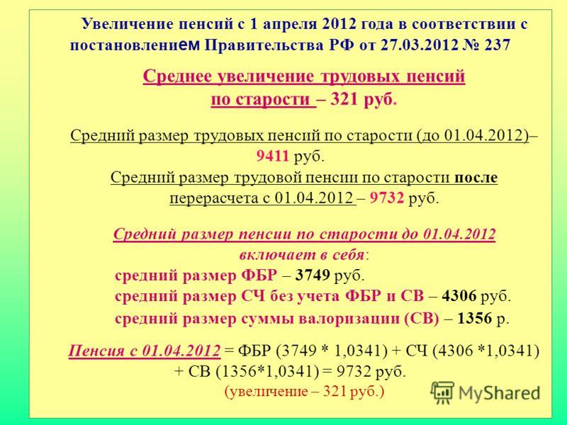 Увеличение пенсий с 1 апреля 2012 года в соответствии с постановлени ем Правительства РФ от 27.03.2012 237 Среднее увеличение трудовых пенсий по старости – 321 руб. Средний размер трудовых пенсий по старости (до 01.04.2012)– 9411 руб. Средний размер