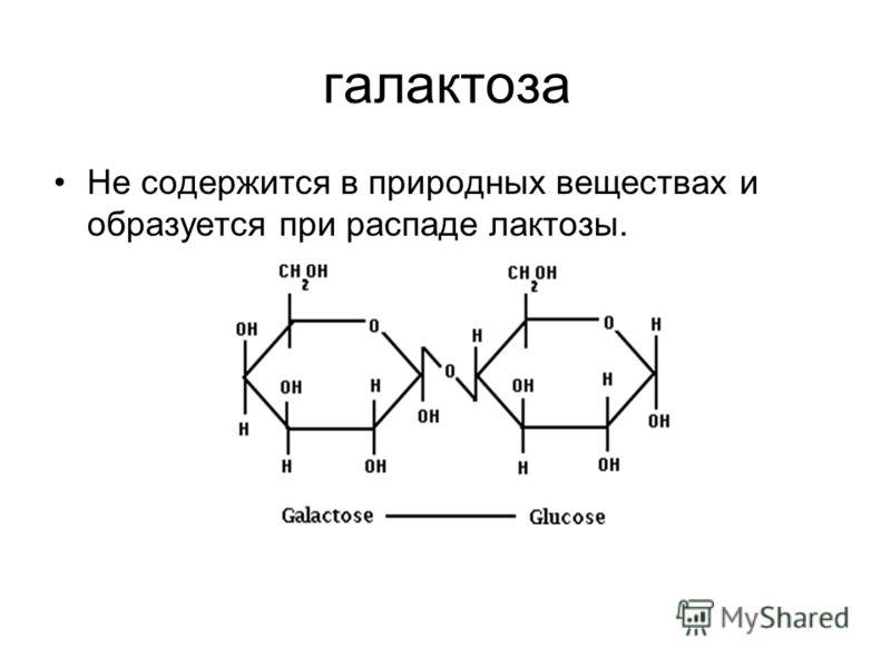 галактоза Не содержится в природных веществах и образуется при распаде лактозы.