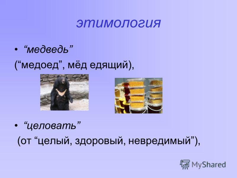 этимология медведь (медоед, мёд едящий), целовать (от целый, здоровый, невредимый),