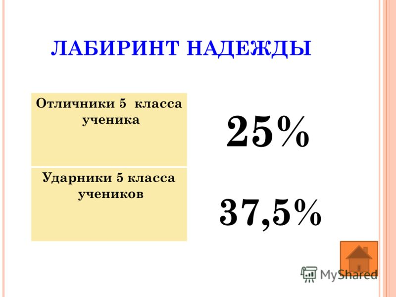 25% ЛАБИРИНТ НАДЕЖДЫ Отличники 5 класса ученика Ударники 5 класса учеников 37,5%