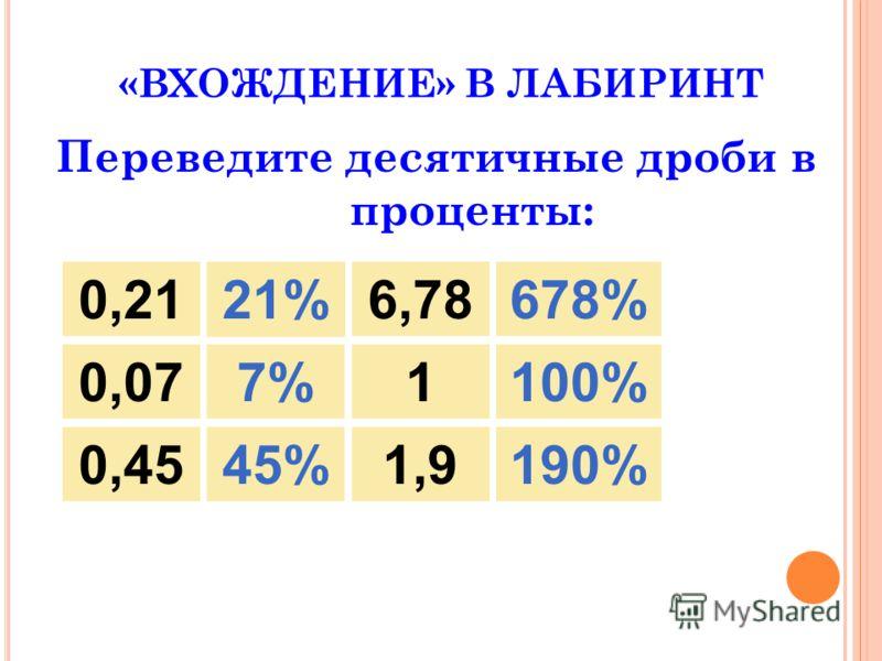 «ВХОЖДЕНИЕ» В ЛАБИРИНТ Переведите десятичные дроби в проценты: 0,21 21% 6,78678% 0,077%1100% 0,45190%1,945%