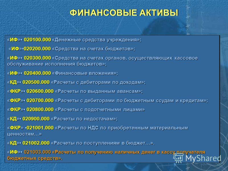 ФИНАНСОВЫЕ АКТИВЫ «ИФ» 020100.000 «Денежные средства учреждения»; «ИФ»020200.000 «Средства на счетах бюджетов»; «ИФ»020200.000 «Средства на счетах бюджетов»; «ИФ» 020300.000 «Средства на счетах органов, осуществляющих кассовое обслуживание исполнения