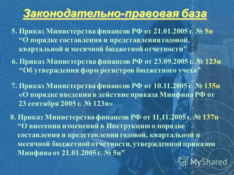 Законодательно-правовая база 5. Приказ Министерства финансов РФ от 21.01.2005 г. 5н О порядке составления и представления годовой, квартальной и месячной бюджетной отчетности 8. Приказ Министерства финансов РФ от 11.11.2005 г. 137н О внесении изменен