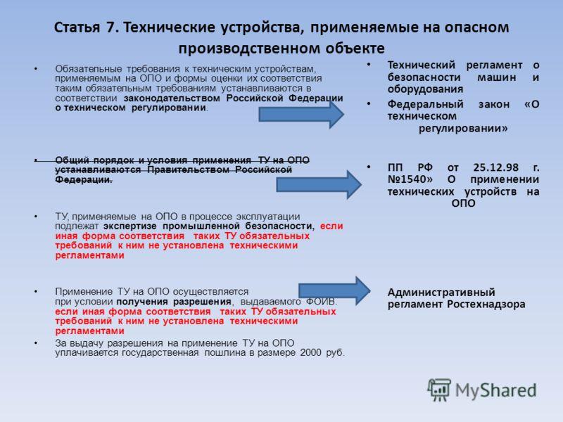Статья 7. Технические устройства, применяемые на опасном производственном объекте Обязательные требования к техническим устройствам, применяемым на ОПО и формы оценки их соответствия таким обязательным требованиям устанавливаются в соответствии закон