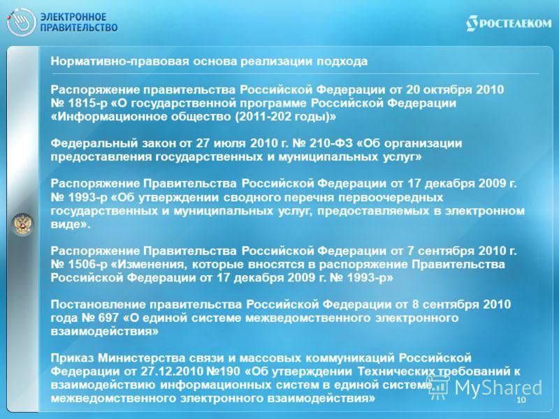 Нормативно-правовая основа реализации подхода Распоряжение правительства Российской Федерации от 20 октября 2010 1815-р «О государственной программе Российской Федерации «Информационное общество (2011-202 годы)» Федеральный закон от 27 июля 2010 г. 2