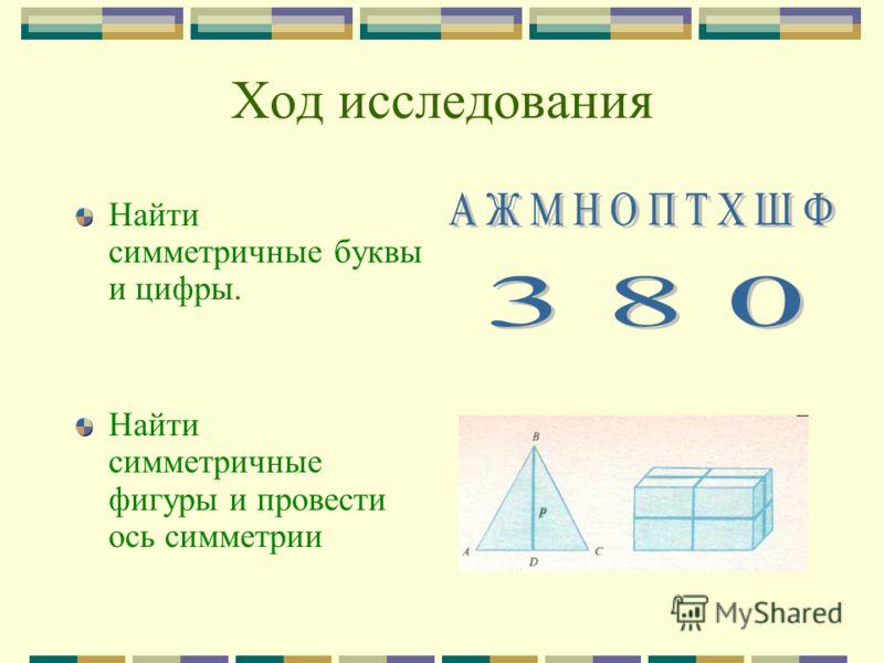 Ход исследования Найти симметричные буквы и цифры. Найти симметричные фигуры и провести ось симметрии