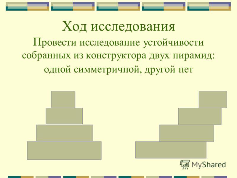 Ход исследования П ровести исследование устойчивости собранных из конструктора двух пирамид: одной симметричной, другой нет