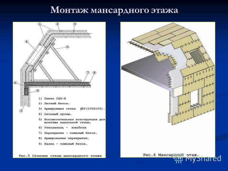 Монтаж мансардного этажа пенобетон