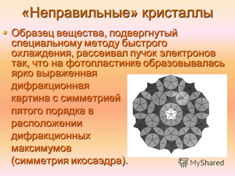 «Неправильные» кристаллы Образец вещества, подвергнутый специальному методу быстрого охлаждения, рассеивал пучок электронов так, что на фотопластинке образовывалась ярко выраженная Образец вещества, подвергнутый специальному методу быстрого охлаждени
