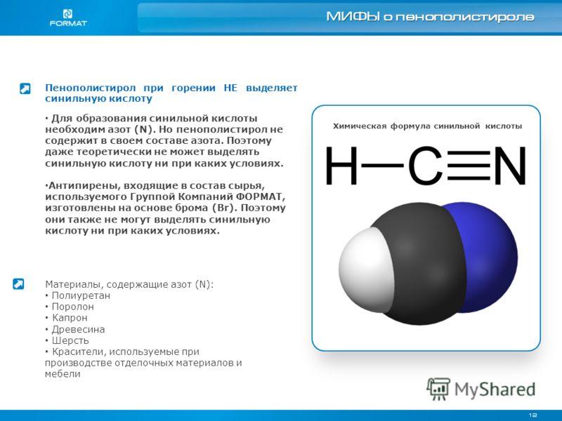 12 МИФЫ о пенополистироле Пенополистирол при горении НЕ выделяет синильную кислоту Химическая формула синильной кислоты Для образования синильной кислоты необходим азот (N). Но пенополистирол не содержит в своем составе азота. Поэтому даже теоретичес