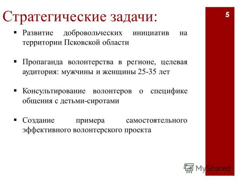 Стратегические задачи: Развитие добровольческих инициатив на территории Псковской области Пропаганда волонтерства в регионе, целевая аудитория: мужчины и женщины 25-35 лет Консультирование волонтеров о специфике общения с детьми-сиротами Создание при
