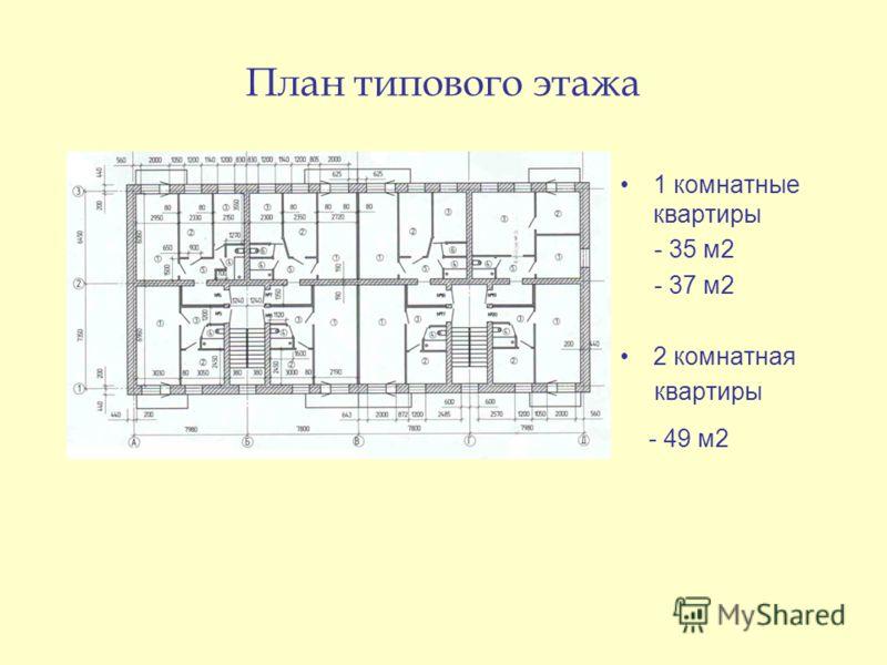 План типового этажа 1 комнатные квартиры - 35 м2 - 37 м2 2 комнатная квартиры - 49 м2