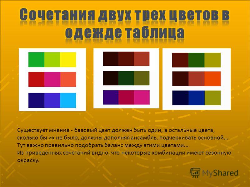 Существует мнение - базовый цвет должен быть один, а остальные цвета, сколько бы их не было, должны дополняя ансамбль, подчеркивать основной... Тут важно правильно подобрать баланс между этими цветами... Из приведенных сочетаний видно, что некоторые