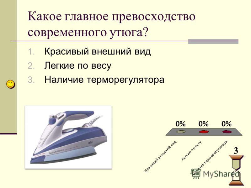 Какое главное превосходство современного утюга? 3 1. Красивый внешний вид 2. Легкие по весу 3. Наличие терморегулятора