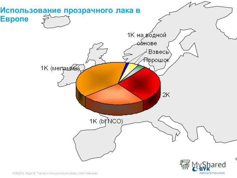 7/19/2012, Page 18, Trends in the Automotive Industry / Mark Heekeren Использование прозрачного лака в Европе