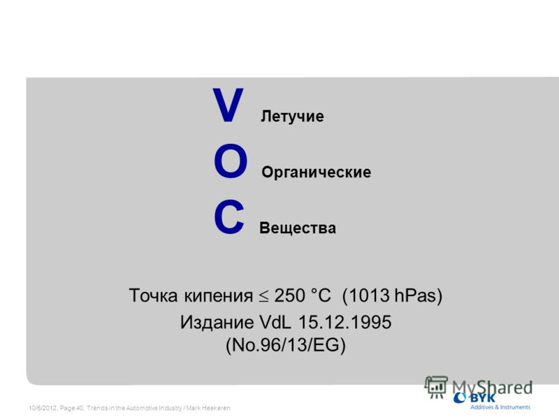 7/19/2012, Page 40, Trends in the Automotive Industry / Mark Heekeren V Летучие O Органические C Вещества Точка кипения 250 °C (1013 hPas) Издание VdL 15.12.1995 (No.96/13/EG)