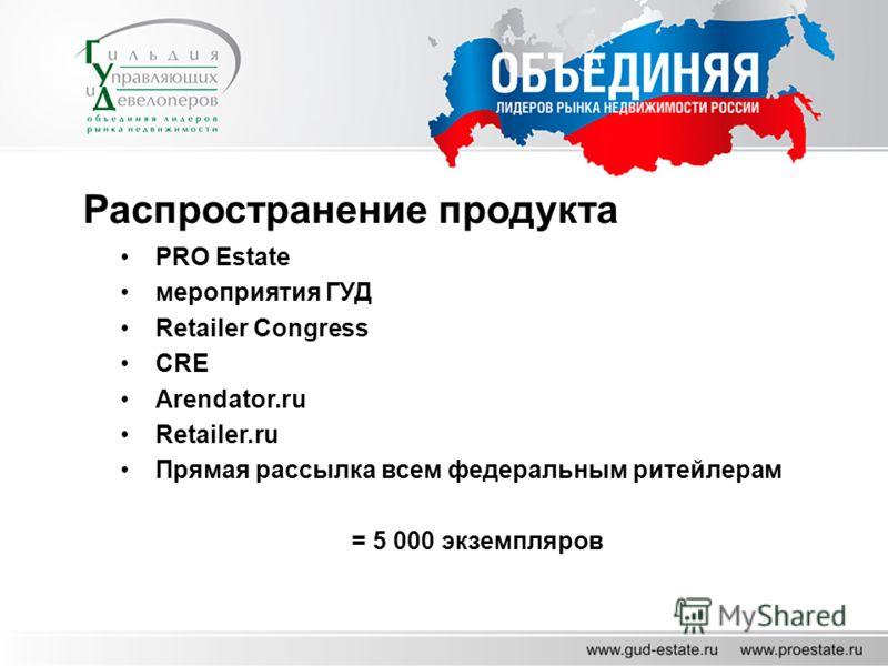 Распространение продукта PRO Estate мероприятия ГУД Retailer Congress CRE Arendator.ru Retailer.ru Прямая рассылка всем федеральным ритейлерам = 5 000 экземпляров