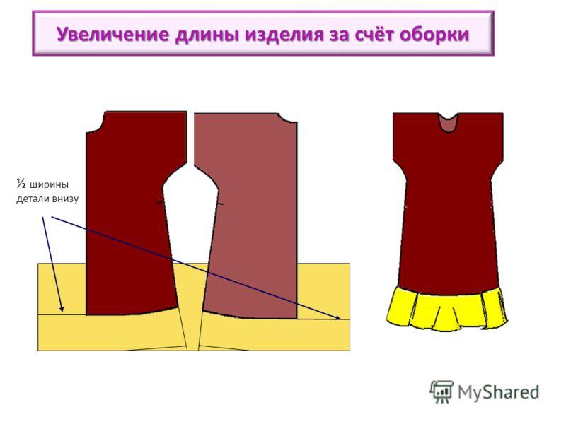 ½ ширины детали внизу Увеличение длины изделия за счёт оборки Если вы хотите увеличить длину изделия, приклейте к вы кройке спинки снизу дополни