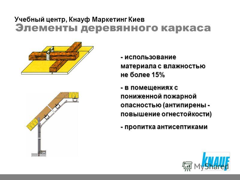 Элементы деревянного каркаса - использование материала с влажностью не более 15% - в помещениях с пониженной пожарной опасностью (антипирены - повышение огнестойкости) - пропитка антисептиками Учебный центр, Кнауф Маркетинг Киев