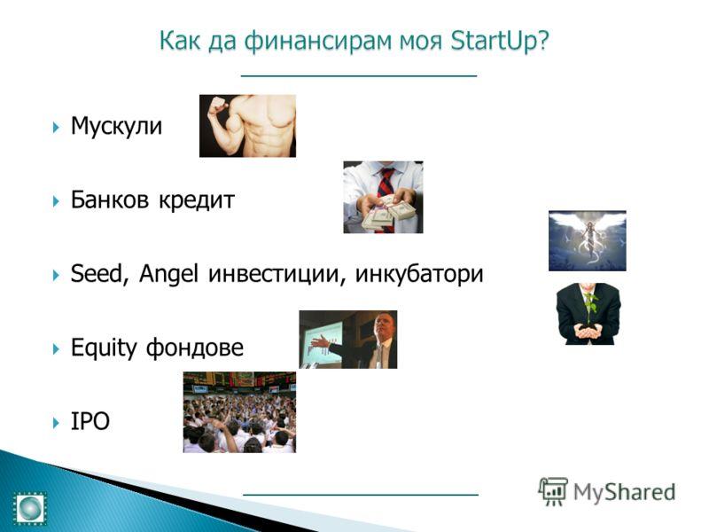 Мускули Банков кредит Seed, Angel инвестиции, инкубатори Equity фондове IPO