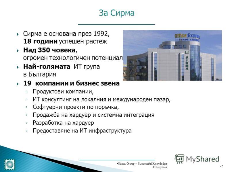 Сирма е основана през 1992, 18 години успешен растеж Над 350 човека, огромен технологичен потенциал Най-голямата ИТ група в България 19 компании и бизнес звена Продуктови компании, ИТ консултинг на локалния и международен пазар, Софтуерни проекти по
