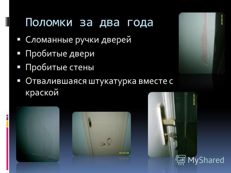 Поломки за два года Сломанные ручки дверей Пробитые двери Пробитые стены Отвалившаяся штукатурка вместе с краской