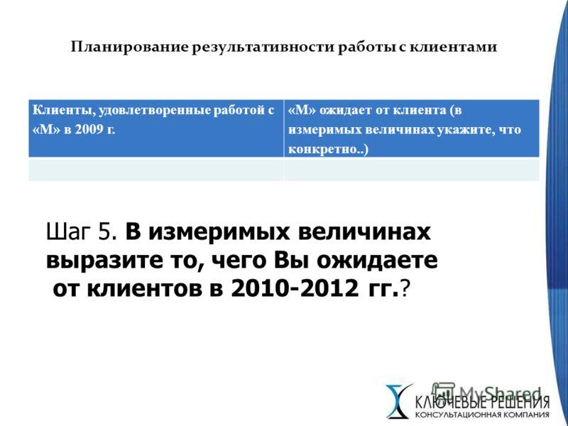 Планирование результативности работы с клиентами Клиенты, удовлетворенные работой с «М» в 2009 г. «М» ожидает от клиента (в измеримых величинах укажите, что конкретно..) Шаг 5. В измеримых величинах выразите то, чего Вы ожидаете от клиентов в 2010-20