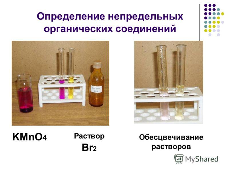 Определение непредельных органических соединений KMnO 4 Раствор Br 2 Обесцвечивание растворов