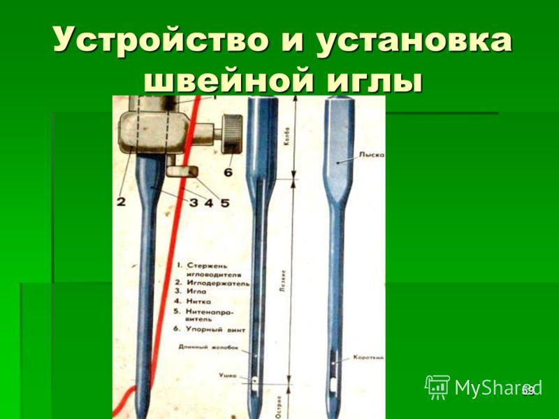 Первитская И.В. учитель обслуживающего труда Макушинской СОШ 59 Устройство и установка швейной иглы