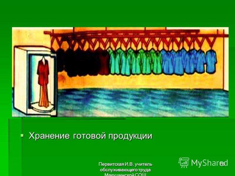 Первитская И.В. учитель обслуживающего труда Макушинской СОШ 78 Хранение готовой продукции Хранение готовой продукции