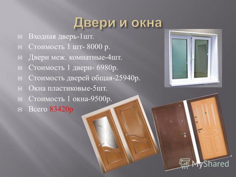 Входная дверь -1 шт. Стоимость 1 шт - 8000 р. Двери меж. комнатные -4 шт. Стоимость 1 двери - 6980 р. Стоимость дверей общая -25940 р. Окна пластиковые -5 шт. Стоимость 1 окна -9500 р. Всего 83420 р