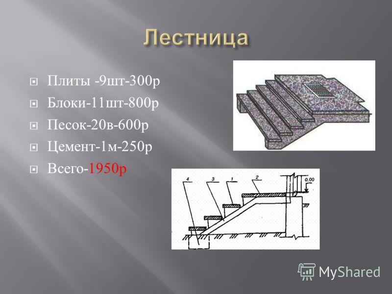 Плиты -9 шт -300 р Блоки -11 шт -800 р Песок -20 в -600 р Цемент -1 м -250 р Всего -1950 р