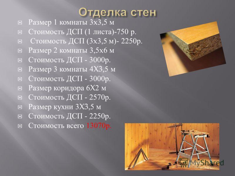 Размер 1 комнаты 3x3,5 м Стоимость ДСП (1 листа )-750 р. Стоимость ДСП (3x3,5 м )- 2250 р. Размер 2 комнаты 3,5x6 м Стоимость ДСП - 3000 р. Размер 3 комнаты 4X3,5 м Стоимость ДСП - 3000 р. Размер коридора 6X2 м Стоимость ДСП - 2570 р. Размер кухни 3X