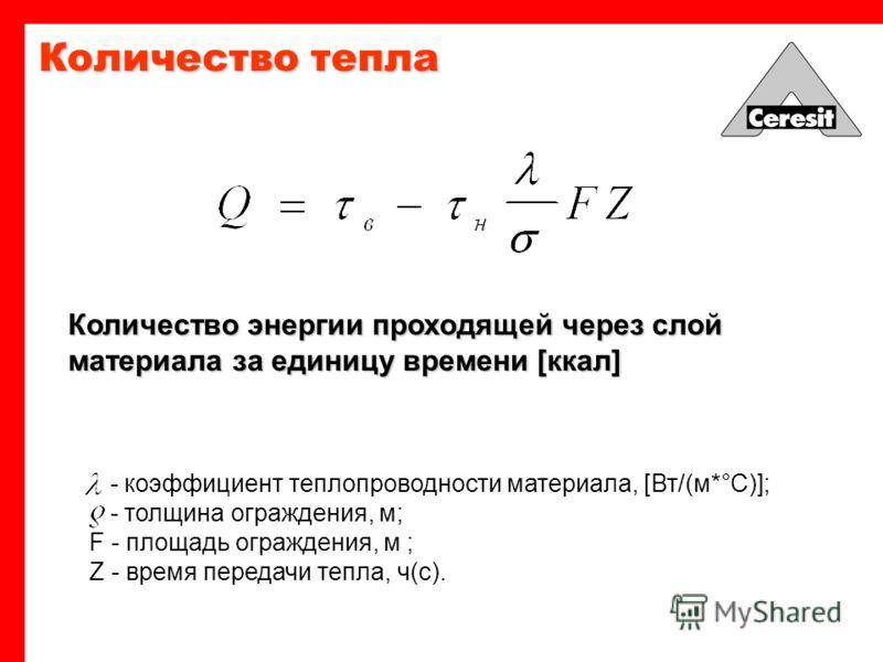 Коэффициент U, величина обратно пропорциональная термическому сопротивлению, которая является мерой движения тепла через материал на площади 1 м 2 при разнице температур с обеих его сторон. 1 o C [Вт/м2K] Термическая проницаемость материала R si и R