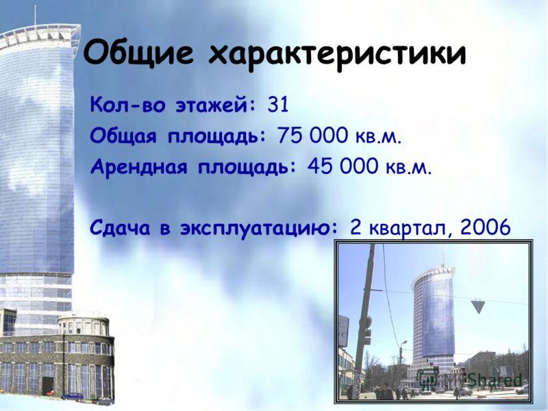 Общие характеристики Кол-во этажей: 31 Общая площадь: 75 000 кв.м. Арендная площадь: 45 000 кв.м. Сдача в эксплуатацию: 2 квартал, 2006
