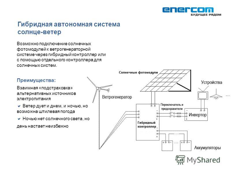 Гибридная автономная система солнце-ветер Возможно подключение солнечных фотомодулей к ветрогенераторной системе через гибридный контроллер или с помощью отдельного контроллера для солнечных систем. Преимущества: Взаимная «подстраховка» альтернативны