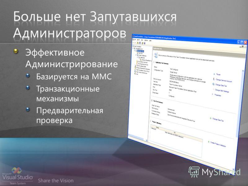 Эффективное Администрирование Базируется на MMC Транзакционные механизмы Предварительная проверка