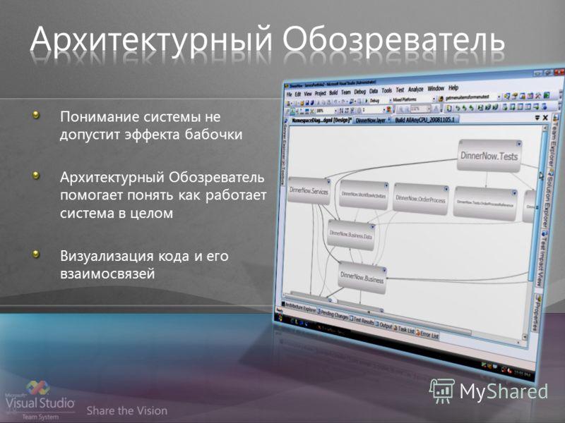 28 Понимание системы не допустит эффекта бабочки Архитектурный Обозреватель помогает понять как работает система в целом Визуализация кода и его взаимосвязей