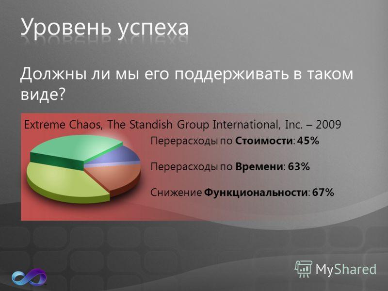 Должны ли мы его поддерживать в таком виде? Перерасходы по Стоимости: 45% Перерасходы по Времени: 63% Снижение Функциональности: 67% Extreme Chaos, The Standish Group International, Inc. – 2009