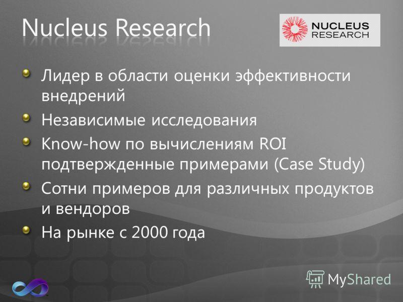Лидер в области оценки эффективности внедрений Независимые исследования Know-how по вычислениям ROI подтвержденные примерами (Case Study) Сотни примеров для различных продуктов и вендоров На рынке с 2000 года