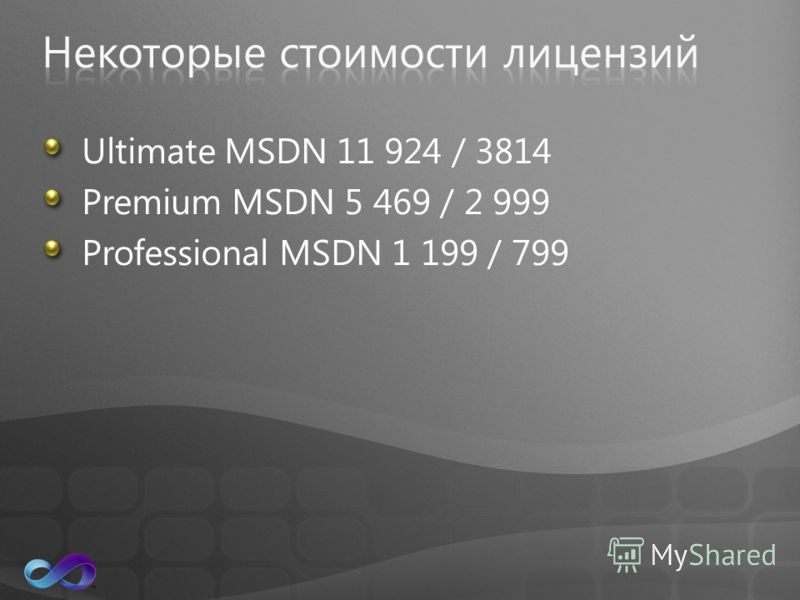 Ultimate MSDN 11 924 / 3814 Premium MSDN 5 469 / 2 999 Professional MSDN 1 199 / 799