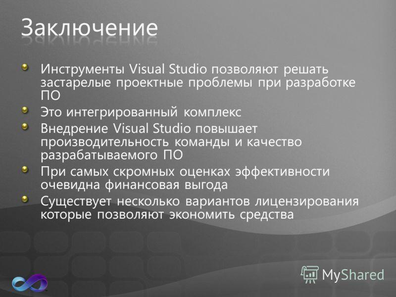 Инструменты Visual Studio позволяют решать застарелые проектные проблемы при разработке ПО Это интегрированный комплекс Внедрение Visual Studio повышает производительность команды и качество разрабатываемого ПО При самых скромных оценках эффективност