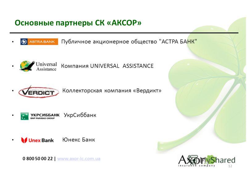 Основные партнеры СК «АКСОР» Публичное акционерное общество АСТРА БАНК Компания UNIVERSAL ASSISTANCE Коллекторская компания «Вердикт» УкрСиббанк Юнекс Банк 12 0 800 50 00 22 | www.axor-ic.com.uawww.axor-ic.com.ua